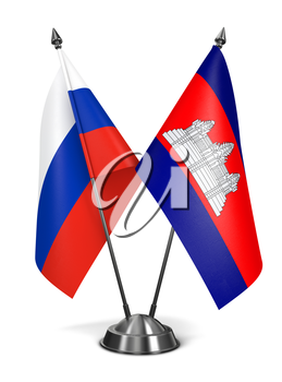 Russia and Cambodia - Miniature Flags Isolated on White Background.