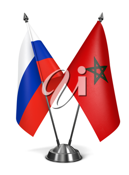 Russia and Morocco - Miniature Flags Isolated on White Background.