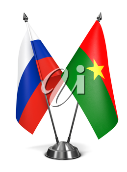 Russia and Burkina Faso - Miniature Flags Isolated on White Background.