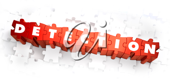 Detection - White Word on Red Puzzles on White Background. 3D Illustration.