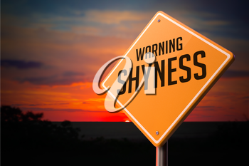 Shyness on Warning Road Sign on Sunset Sky Background.