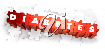 Diabetes - White Word on Red Puzzles on White Background. 3D Illustration.