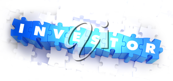Investor - White Word on Blue Puzzles on White Background. 3D Illustration.