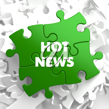 Hot News on Green Puzzles on White Background.