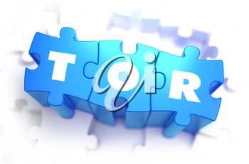TOR - White Word on Blue Puzzles on White Background. 3D Illustration.