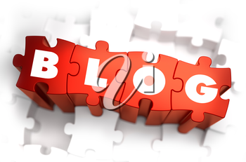 Blog - White Word on Red Puzzles on White Background. 3D Illustration.