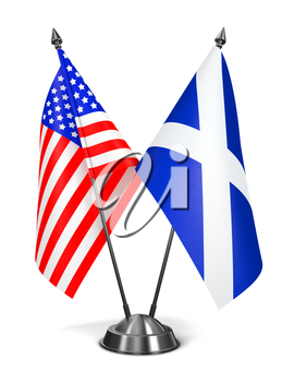 USA and Scotland - Miniature Flags Isolated on White Background.