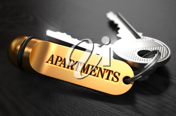 Keys with Word Apartaments on Golden Label over Black Wooden Background. Closeup View, Selective Focus, 3D Render.