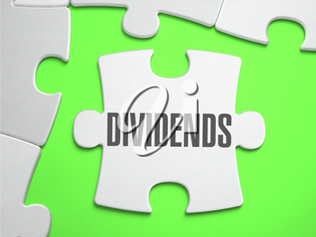 Dividends  - Jigsaw Puzzle with Missing Pieces. Bright Green Background. Close-up. 3d Illustration.
