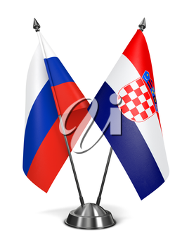Russia and Croatia - Miniature Flags Isolated on White Background.