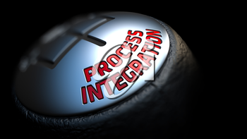 Process Integration - Red Text on Black Gear Shifter with Leather Cover. Close Up View. Selective Focus.
