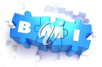 BMI - Body Mass Index - White Word on Blue Puzzles on White Background. 3D Illustration.