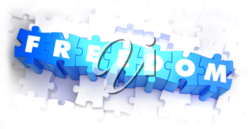 Freedom - White Word on Blue Puzzles on White Background. 3D Illustration.
