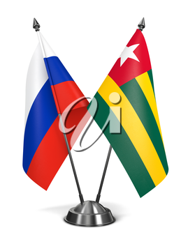 Russia and Togo - Miniature Flags Isolated on White Background.