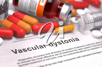 Vascular Dystonia - Printed Diagnosis with Blurred Text. On Background of Medicaments Composition - Red Pills, Injections and Syringe.