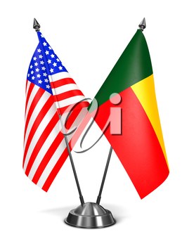 USA and Benin - Miniature Flags Isolated on White Background.