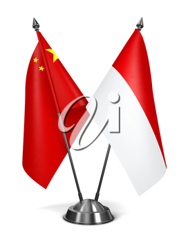 China and Monaco - Miniature Flags Isolated on White Background.