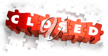 Closed - White Word on Red Puzzles on White Background. 3D Illustration.