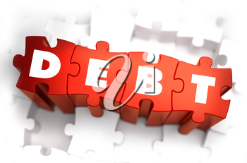 Debt - White Word on Red Puzzles on White Background. 3D Illustration.