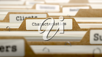 Characteristics Concept. Word on Folder Register of Card Index. Selective Focus.