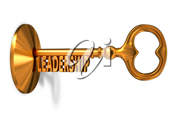 Leadership - Golden Key is Inserted into the Keyhole Isolated on White Background