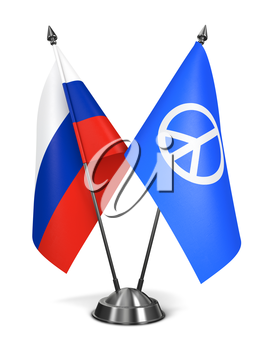 Russia and Peace Sign - Miniature Flags Isolated on White Background.