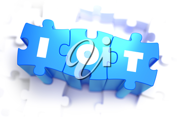 IOT -  Internet of Thing - Text on Blue Puzzles on White Background. 3D Render.