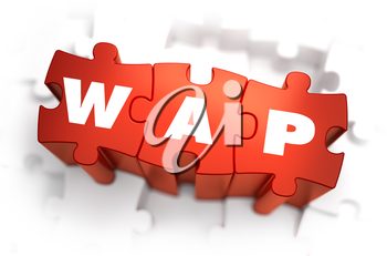 WAP - World Wide Web - White Word on Red Puzzles on White Background. 3D Illustration.