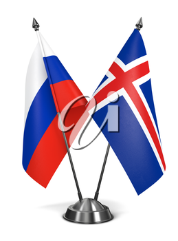 Russia and Iceland - Miniature Flags Isolated on White Background.