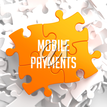 Mobile Payments on Yellow Puzzle on White Background.