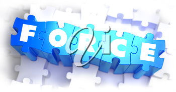 Force - White Word on Blue Puzzles on White Background. 3D Illustration.