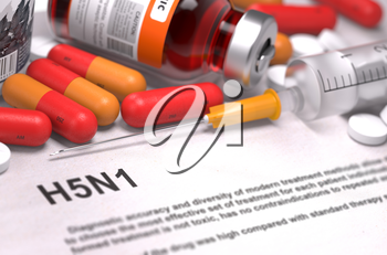 H5N1 - Printed Diagnosis with Blurred Text. On Background of Medicaments Composition - Red Pills, Injections and Syringe.