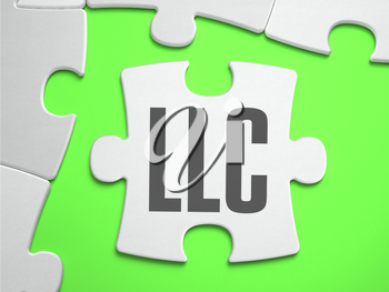 LLC - Limited Liability Company - Jigsaw Puzzle with Missing Pieces. Bright Green Background. Close-up. 3d Illustration.