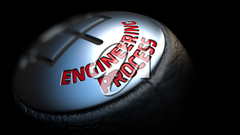 Gear Stick with Red Text Engineering Process on Black Background. Close Up View. Selective Focus. 3D Render.