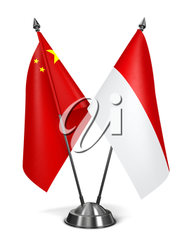 China and Indonesia - Miniature Flags Isolated on White Background.