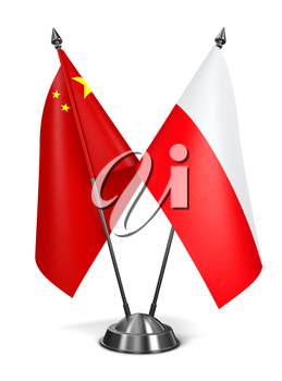 China and Poland - Miniature Flags Isolated on White Background.