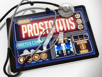 Prostatitis - Diagnosis on the Display of Medical Tablet and a Black Stethoscope on White Background.
