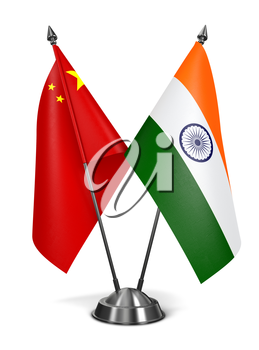 India and China - Miniature Flags Isolated on White Background.