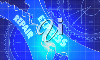 express repair Concept. Blueprint Background with Gears. Industrial Design. 3d illustration, Lens Flare.