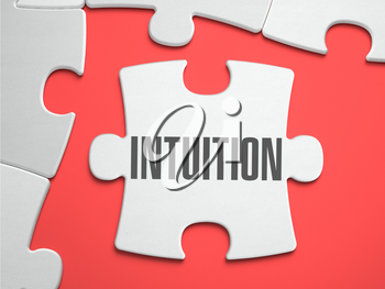 Intuition - Text on Puzzle on the Place of Missing Pieces. Scarlett Background. Close-up. 3d Illustration.