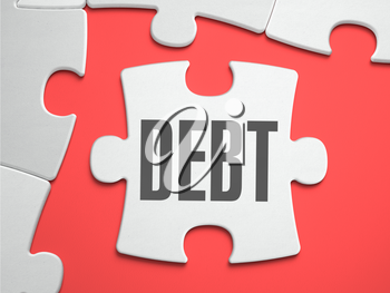 Debt - Text on Puzzle on the Place of Missing Pieces. Scarlett Background. Close-up. 3d Illustration.
