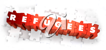 Refugees - White Word on Red Puzzles on White Background. 3D Render.