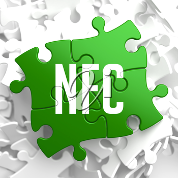 NFC on Green Puzzle on White Background.