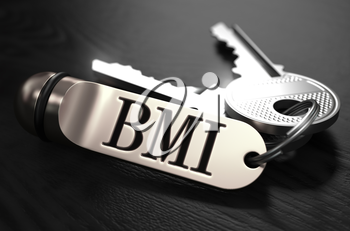 BMI - Body Mass Index - Concept. Keys with Keyring on Black Wooden Table. Closeup View, Selective Focus, 3D Render. Black and White Image.