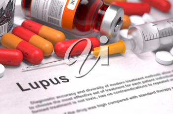 Diagnosis - Lupus. Medical Concept with Red Pills, Injections and Syringe. Selective Focus. 3D Render.