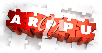 ARPPU - Average Revenue Per Paying User - Text on Red Puzzles with White Background. 3D Render.
