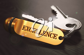 Keys to Excellence - Concept on Golden Keychain over Black Wooden Background. Closeup View, Selective Focus, 3D Render. Toned Image.