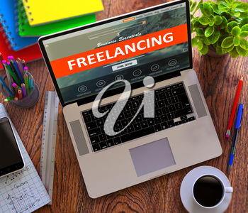 Freelancing on Laptop Screen. Online Working Concept.