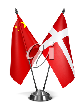 China and Denmark - Miniature Flags Isolated on White Background.