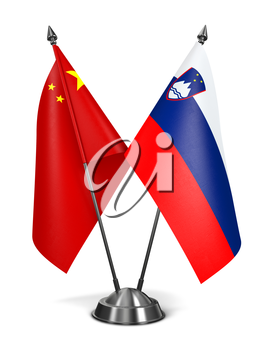 China and Slovenia - Miniature Flags Isolated on White Background.